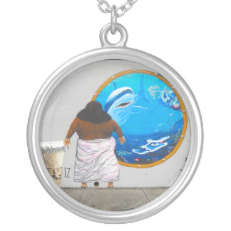 Traditional Hawaiian Music Israel Mural Silver Plated Necklace