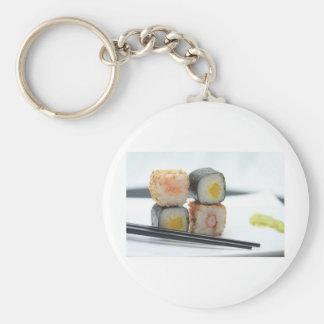 Traditional Japanese Sushi Basic Round Button Key Ring