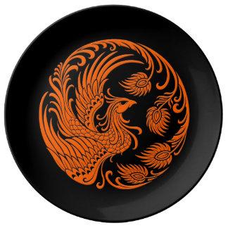 Traditional Orange Phoenix Circle on Black Porcelain Plate