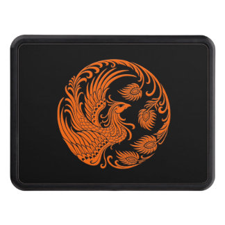 Traditional Orange Phoenix Circle on Black Tow Hitch Covers