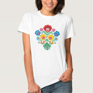 Traditional Polish floral folk embroidery pattern Tee Shirts