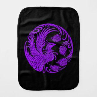 Traditional Purple Phoenix Circle on Black Baby Burp Cloths