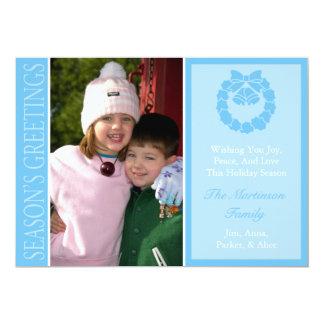 Traditional Season's Greetings Wreath Card (Blue)