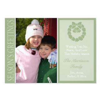 Traditional Season's Greetings Wreath Card (Sage)