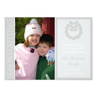 Traditional Season's Greetings Wreath Card Silver