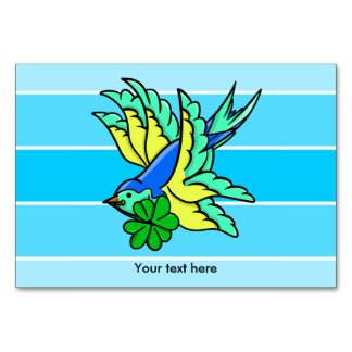 Traditional Swallow Tattoo Cartoon With Shamrock Card