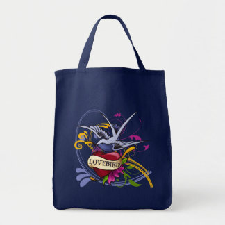 Traditional Tattoo Desingn Swallow and Heart Tote Bag