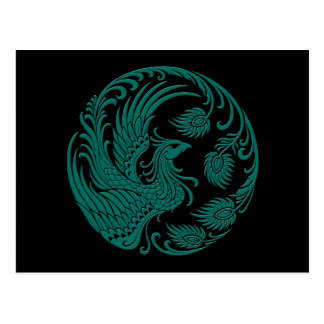 Traditional Teal Blue Phoenix Circle on Black Post Card
