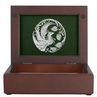 Traditional White Phoenix Circle on Green Memory Box