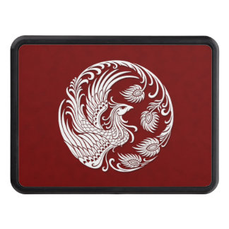 Traditional White Phoenix Circle on Red Tow Hitch Covers