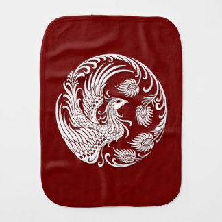Traditional White Phoenix Circle on Red Burp Cloth