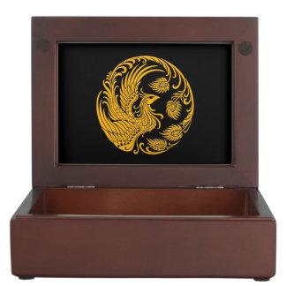 Traditional Yellow Phoenix Circle on Black Keepsake Boxes