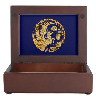 Traditional Yellow Phoenix Circle on Blue Keepsake Boxes