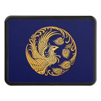 Traditional Yellow Phoenix Circle on Blue Tow Hitch Cover