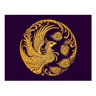 Traditional Yellow Phoenix Circle on Purple Post Cards