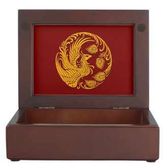 Traditional Yellow Phoenix Circle on Red Memory Box