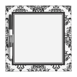 Tradtional Black and White Damask Dry Erase Board