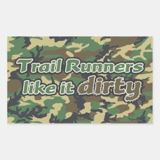 Trail Runners Like it Dirty - Camo Rectangular Sticker