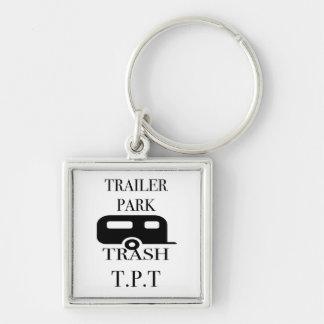 Trailer Park Trash Silver-Colored Square Key Ring