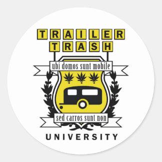 TRAILER TRASH UNIVERSITY ROUND STICKER