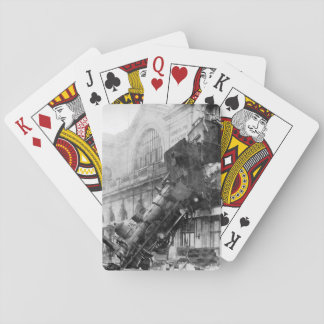 Train Wreck! Vintage Steam Locomotive Crash Playing Cards
