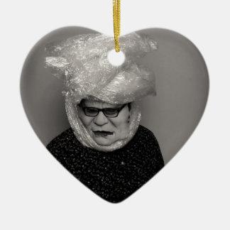 tranny granny ceramic heart decoration