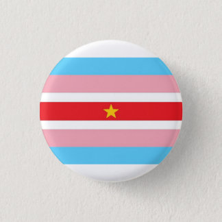 Trans flag with red flag, yellow star 3 cm round badge