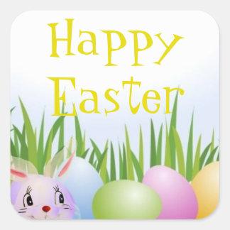 Translucent Easter Bunny Easter Egg Hunt Square Sticker