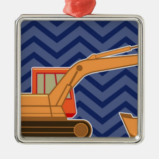 Transportation Backhoe Zigzag Chevron - Blue Christmas Ornament