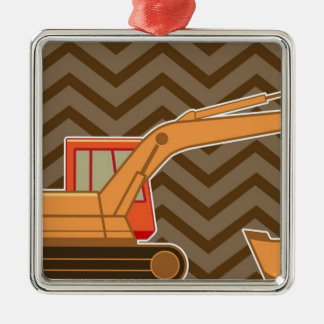 Transportation Backhoe Zigzag Chevron - Brown Christmas Ornament