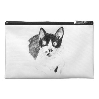 Travel accessory bag of monochrome cat