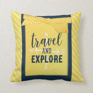 Travel and Explore Compass Pillow