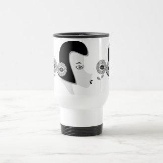 """Travel Mug    funny mug  """"girl with flower"""""""