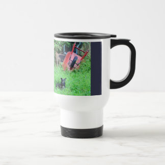 Travel mug outdoor dog scene