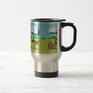 Travel Mug with Cute Animals/Dogs Illustration