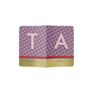 travel passport cover with planes, name & initials