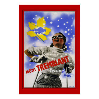 Travel Poster Vintage Canada Mont Tremblant Skiing