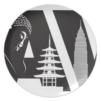 Travel Text Outline with World Landmarks Plate