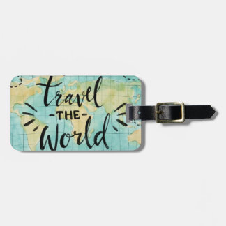 Travel the World Watercolor Luggage Tag
