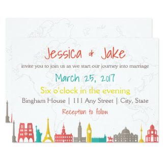 Travel Themed Wedding Invite for Destination