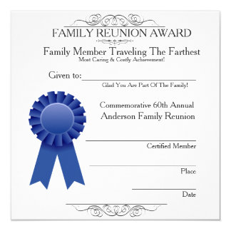 Traveled Farthest Family Reunion Awards Template 13 Cm X 13 Cm Square Invitation Card