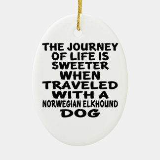 Traveled With A Norwegian Elkhound Life Partner Christmas Ornament