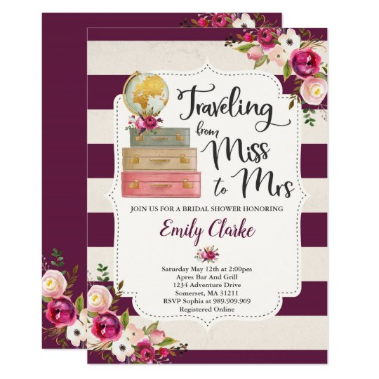 Travelling From Miss To Mrs Bridal Shower Invite