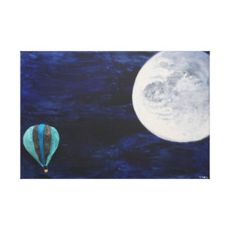 Travelling to the moon stretched canvas print