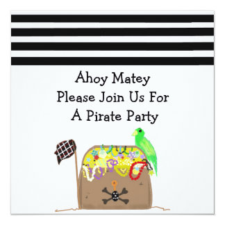 Treasure Chest Pirate Birthday Invitation