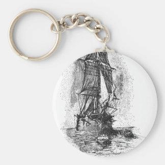 Treasure Island Pirate Ship Basic Round Button Key Ring