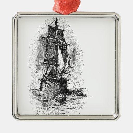 Treasure Island Pirate Ship Christmas Ornaments