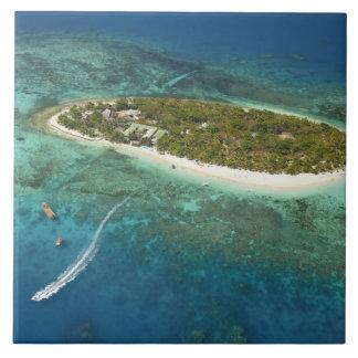Treasure Island Resort and boat, Fiji Large Square Tile