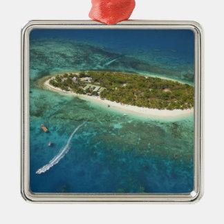 Treasure Island Resort and boat, Fiji Silver-Colored Square Decoration