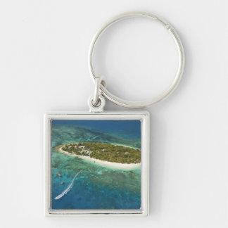 Treasure Island Resort and boat, Fiji Silver-Colored Square Key Ring